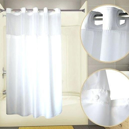 Hook-less Shower Curtain With Liner