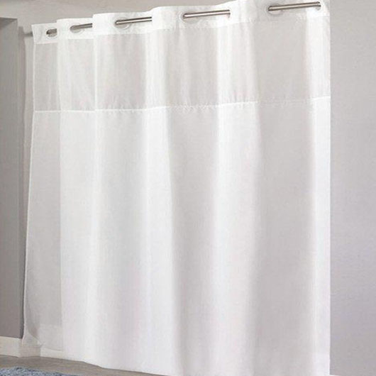 Hook-less Shower Curtain Without Liner